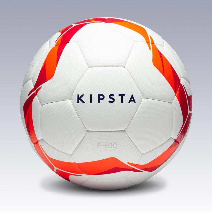 Ballon de football F100 Hybride taille 4 lanc/rouge