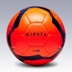 Ballon de football Hybride F100 taille 5 orange et bleu