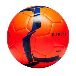 Balón de fútbol Híbrido F100 talla 5 naranja y azul