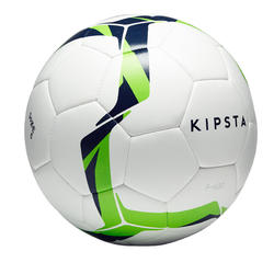 Ballon de soccer F100 Hybride taille 5 blanc/vert