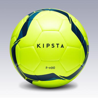 Ballon de football Hybride F100 taille 5 jaune et bleu