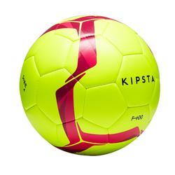 Fußball F100 Hybrid Größe 4 gelb/rosa