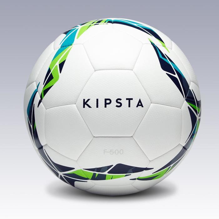 Voetbal F500 hybride maat 4 wit blauw groen