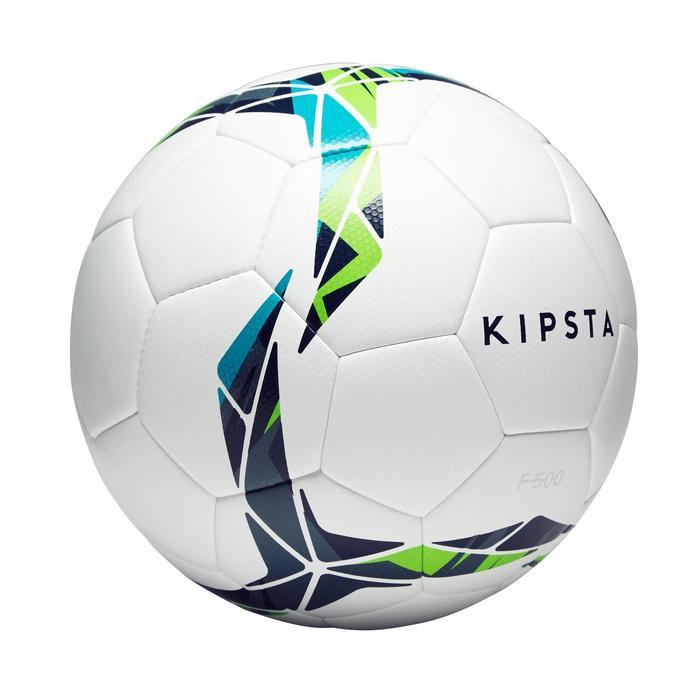 Ballon de football F500 Hybride taille 4 blanc bleu vert