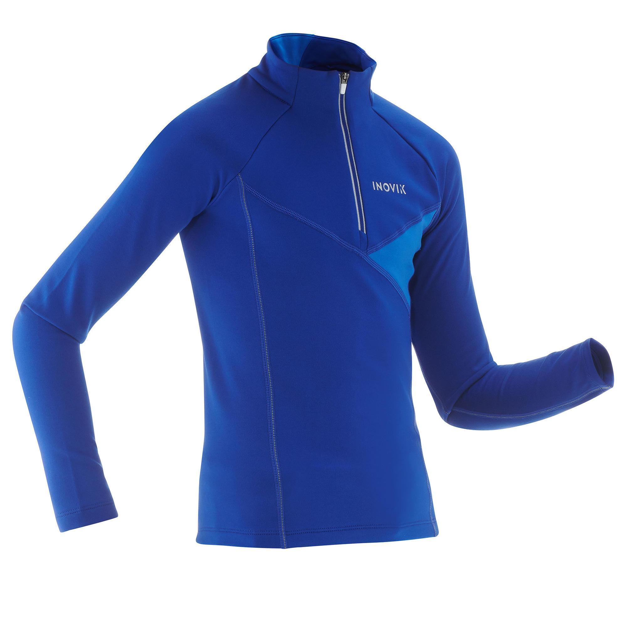 Inovik Warm langlaufshirt voor kinderen XC S T-S 100 donkerblauw