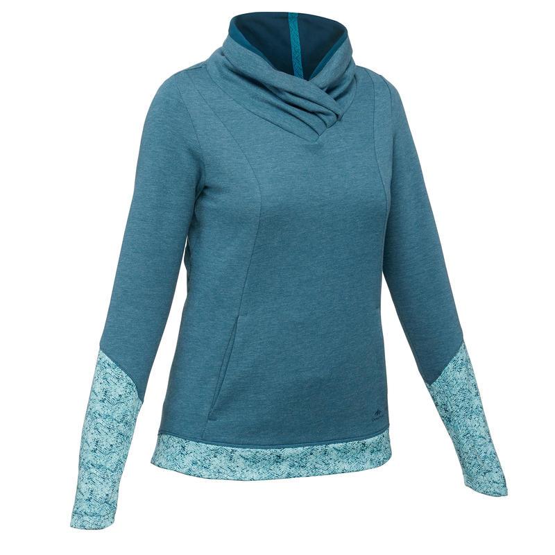 Polerón senderismo en la naturaleza mujer NH500 azul turquesa