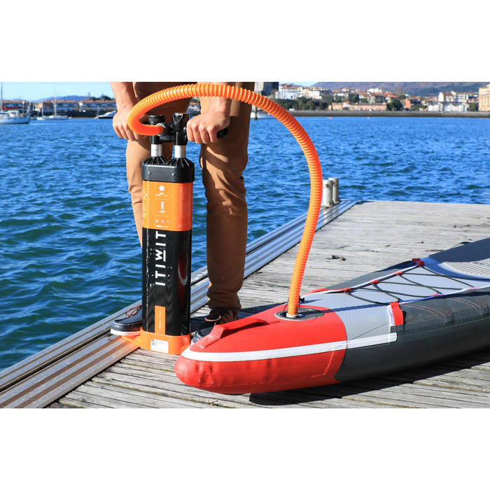 POMPE A MAIN STAND UP PADDLE HAUTE PRESSION 20 PSI TRIPLE ACTION NOIR ORANGE