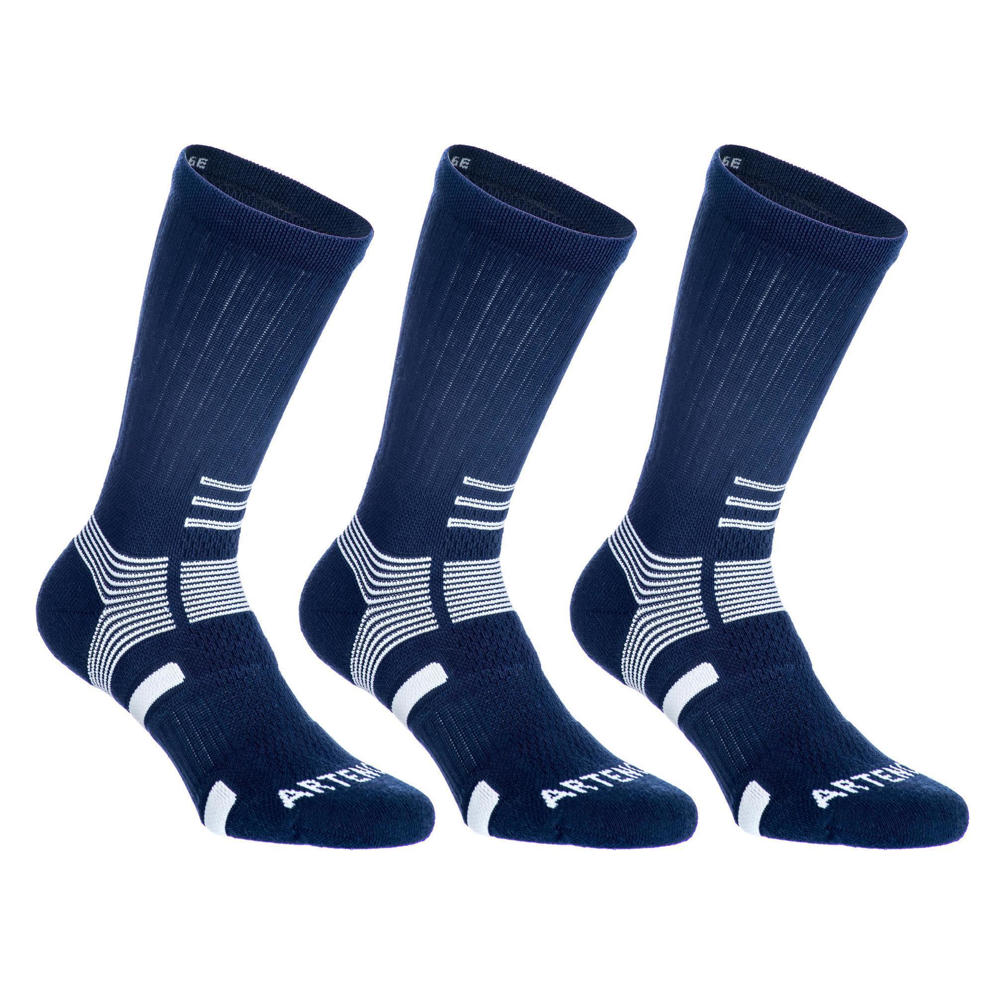 Tennissocken RS 560 High 3er-Pack blau/weiß Artengo | Sportbekleidung > Funktionswäsche > Sportsocken | Blau - Weiß | Pikee | Artengo
