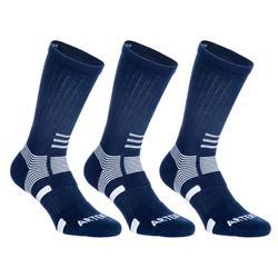 Hoge sportsokken voor volwassenen Artengo RS 560 wit/blauw 3 paar