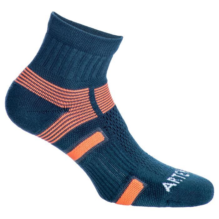 Halfhoge sportsokken volwassenen Artengo RS560 grijs oranje set van 3 paar