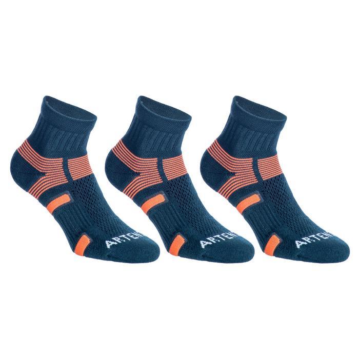 Halfhoge sportsokken Artengo RS 560 grijs/oranje 3 paar