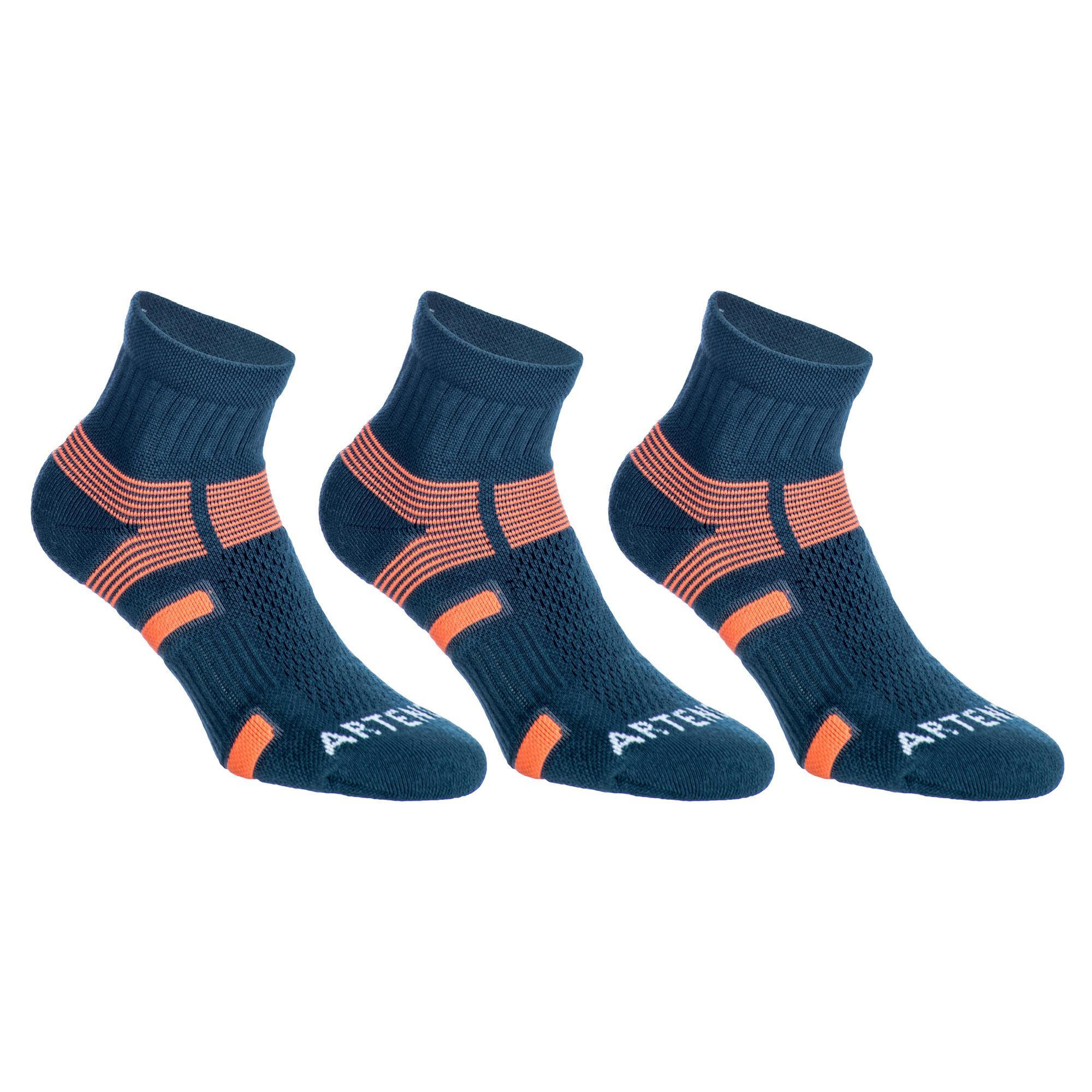 Tennissocken RS 560 Mid 3er-Pack grau/orange Artengo | Sportbekleidung > Funktionswäsche > Sportsocken | Grau - Orange | Pikee | Artengo