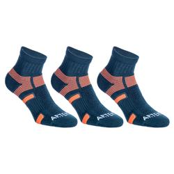 CHAUSSETTES DE SPORT ADULTE MI- HAUTES ARTENGO RS 560 GRIS ORANGE LOT DE 3