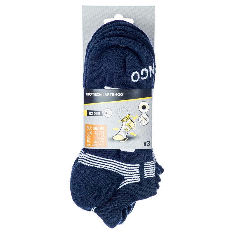 RS 560 Lowedge Sports Socks Tri-Pack - Navy/White
