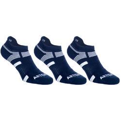 Lage sportsokken Edge volwassenen Artengo RS 560 marineblauw wit set van 3 paar