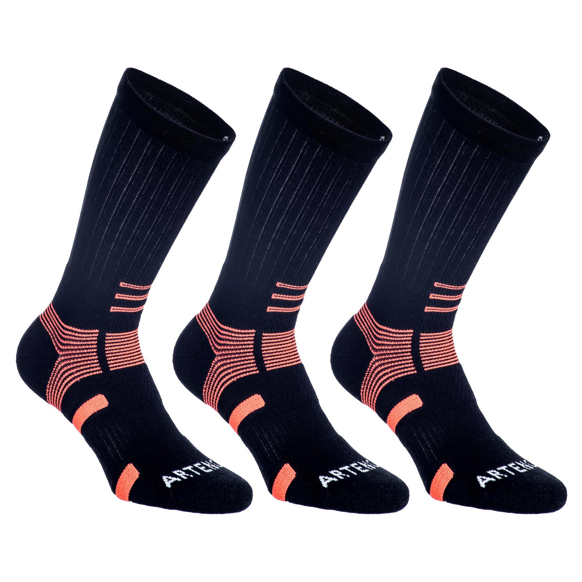 Tennissocken RS 560 High 3er-Pack schwarz/orange Artengo | Sportbekleidung > Funktionswäsche | Schwarz - Orange | Artengo