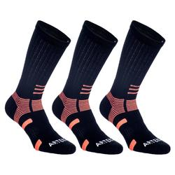 CHAUSSETTES DE SPORT ADULTE HAUTES ARTENGO RS 560 NOIR ORANGE LOT DE 3