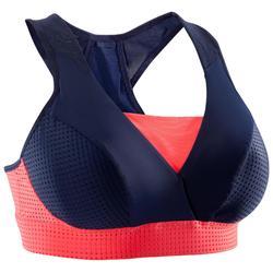 Sujetador-top fitness cardio-training mujer azul marino y coral 900