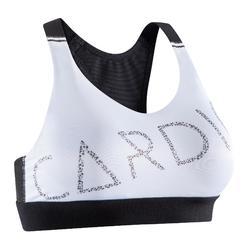 Sujetador-top fitness cardio-training mujer blanco estampado cardio 500
