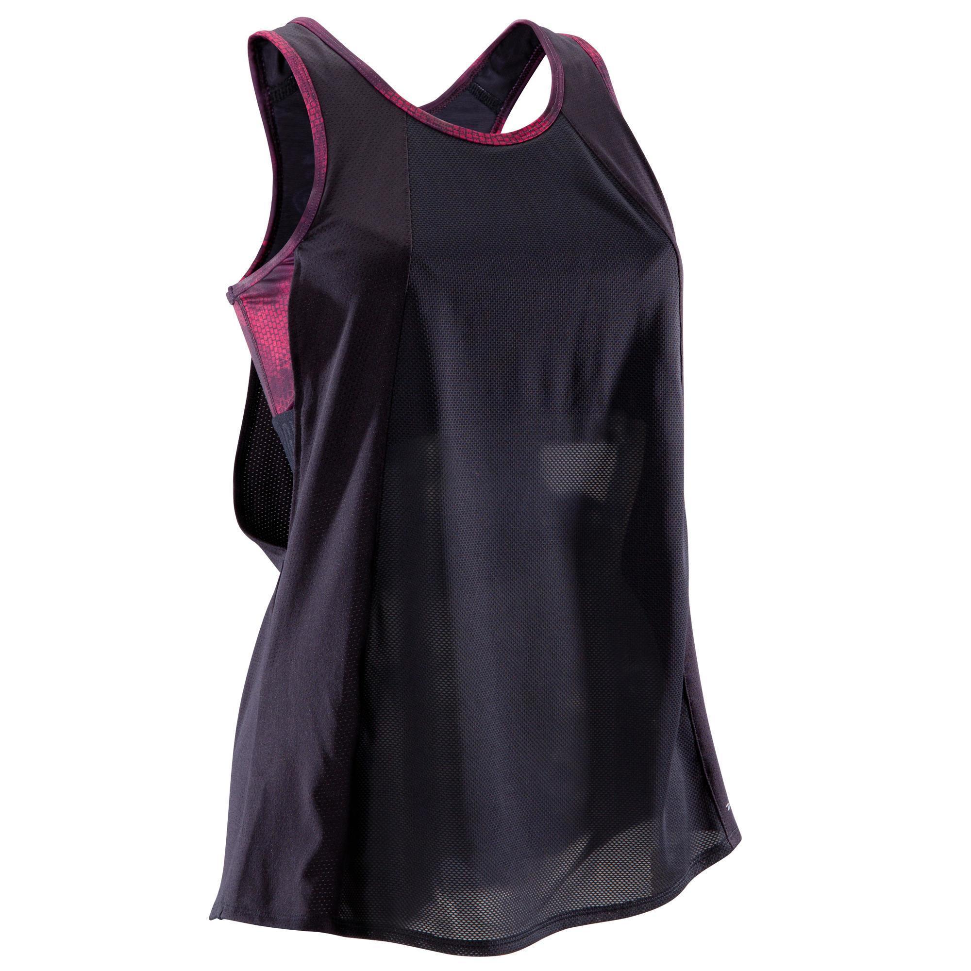 f80ab9c538a Domyos Damestop met ingewerkte beha fitness cardiotraining 500 zwart en  koraal Fitness tops