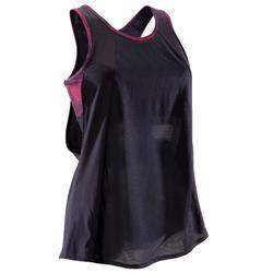 Top mit integriertem Bustier Fitness Cardio Damen schwarz/koralle