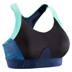Soutien-gorge entraînement cardio femme noire à imprimés bleu marine 500
