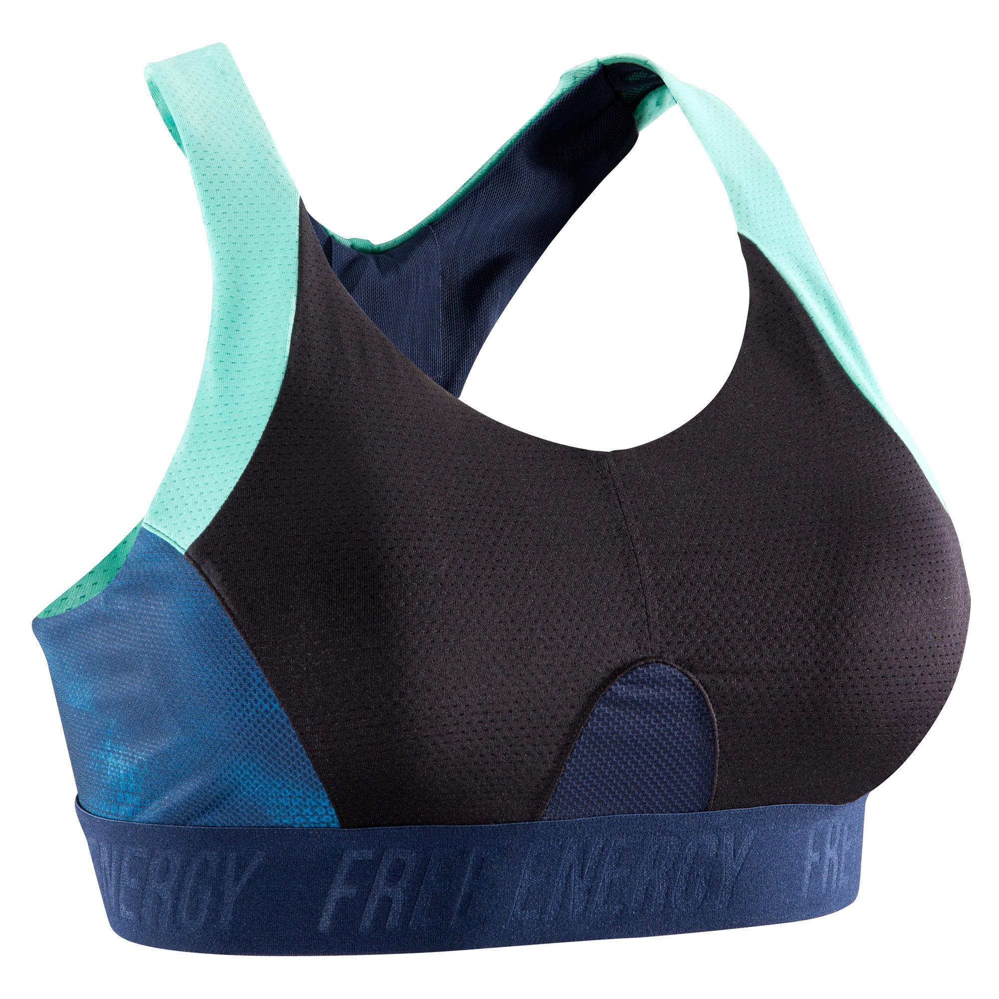 Domyos Cardiofitness sportbeha voor dames zwart met marineblauwe print 500