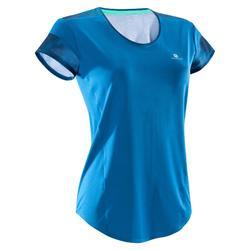 Cardiofitness T-shirt 500 voor dames, blauw met blauwe opdruk
