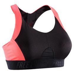 Sport bh fitness 500, zwart/roze