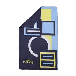 Ultra-Compact Microfibre Towel Size L 80 x 130 cm - Blue/Yellow Print