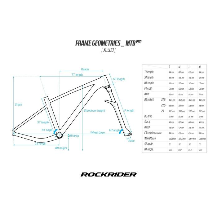 """BICICLETA DE MONTAÑA ROCKRIDER XC 500 27,5"""" ROJA"""
