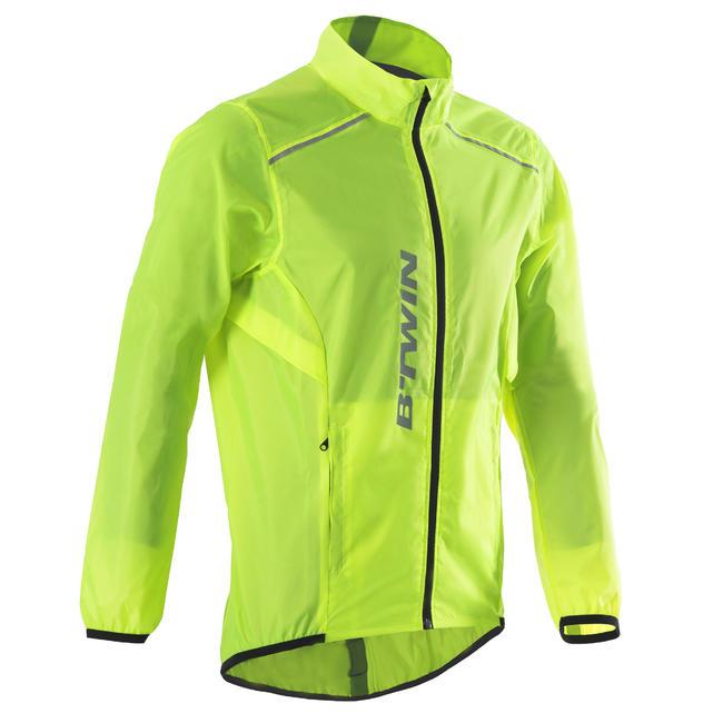 100 Road Cycling Rain Jacket - Neon Yellow