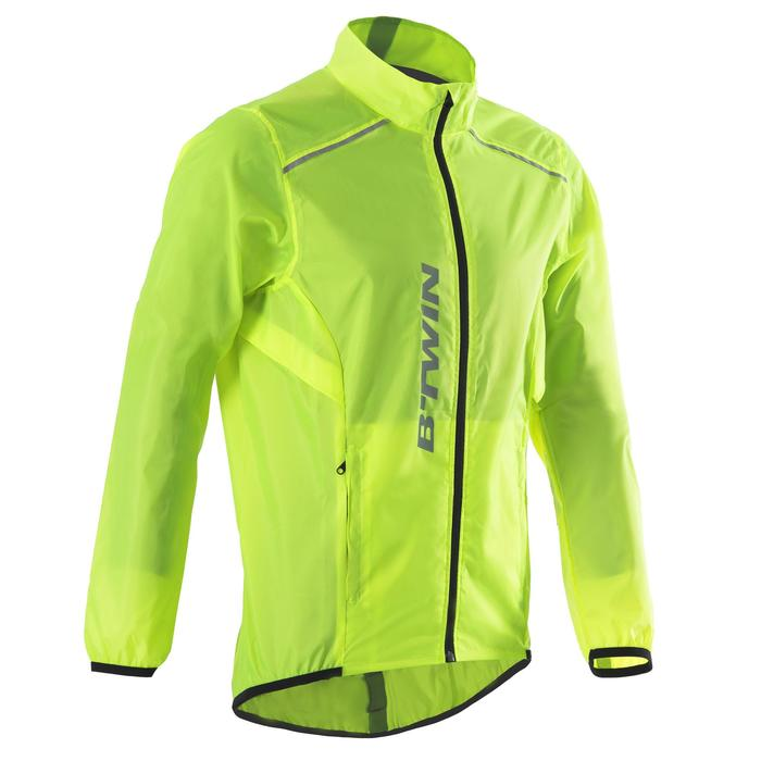 Fahrrad-Regenjacke Rennrad 100 Herren neon-limettengrün