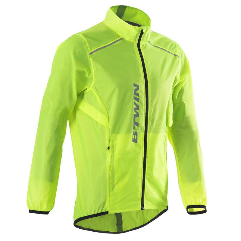MEN WET WEATHER ROAD CYCLING APPAREL - RC 100 Waterproof Cycling Jacket - Yellow B'TWIN