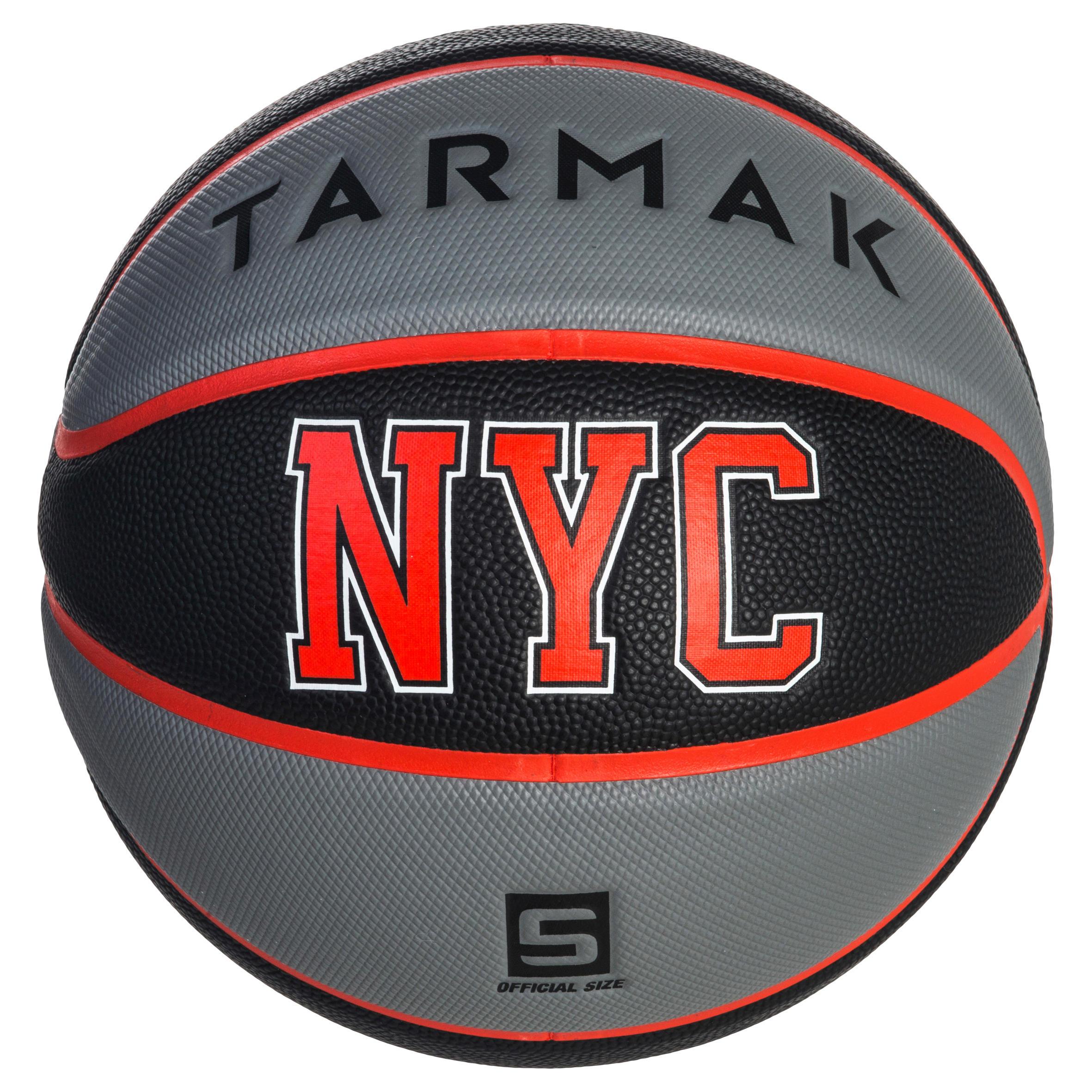 Tarmak Basketbal Wizzy voor kinderen maat 5 Wizzy Playground blauw-oranje. Tot 10 jaar.