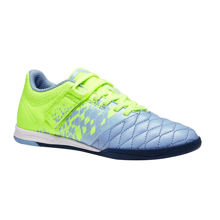 Zapatillas de fútbol sala niños Agility 500 gris amarillo tira autoadherente