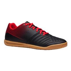 Hallenschuhe Futsal Fussball Agility 100 Kinder schwarz/rot