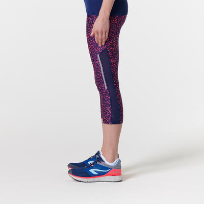 RUN DRY+ WOMEN'S RUNNING CROPPED BOTTOMS - BLUE/CORAL