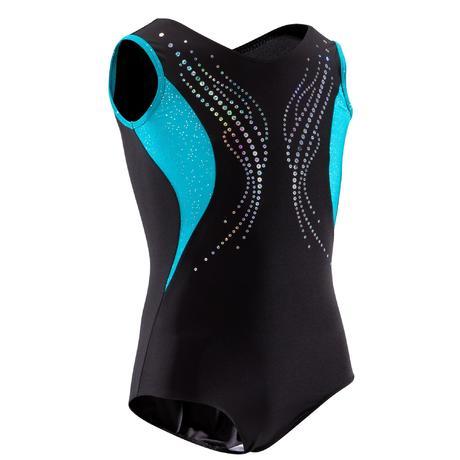 b05aca7447ff Body ginnastica artistica 500 nero-turchese con strass. Previous. Next