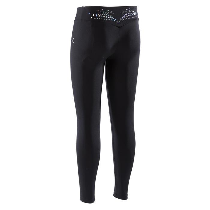 Legging de gymnastique artistique féminine noir sequins - 1351876