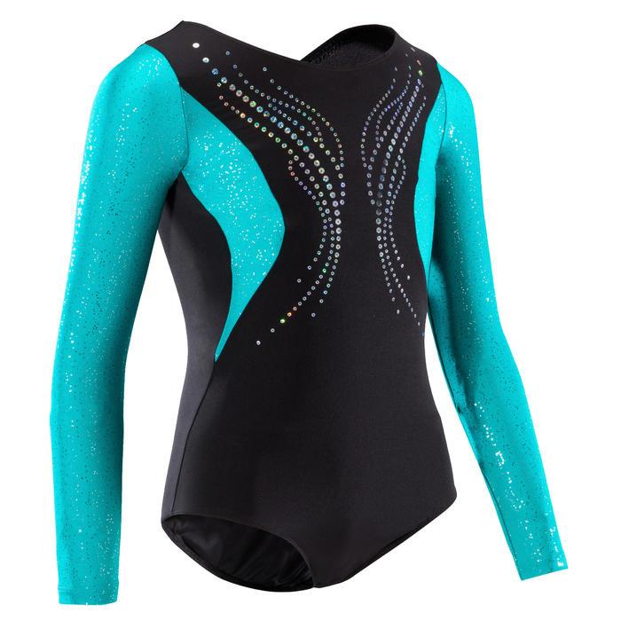 Justaucorps manches longues gymnastique artistique féminine noir et sequins - 1351887