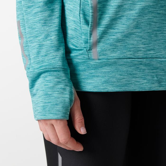 女款慢跑長袖連帽T恤RUN WARM - 淺綠色