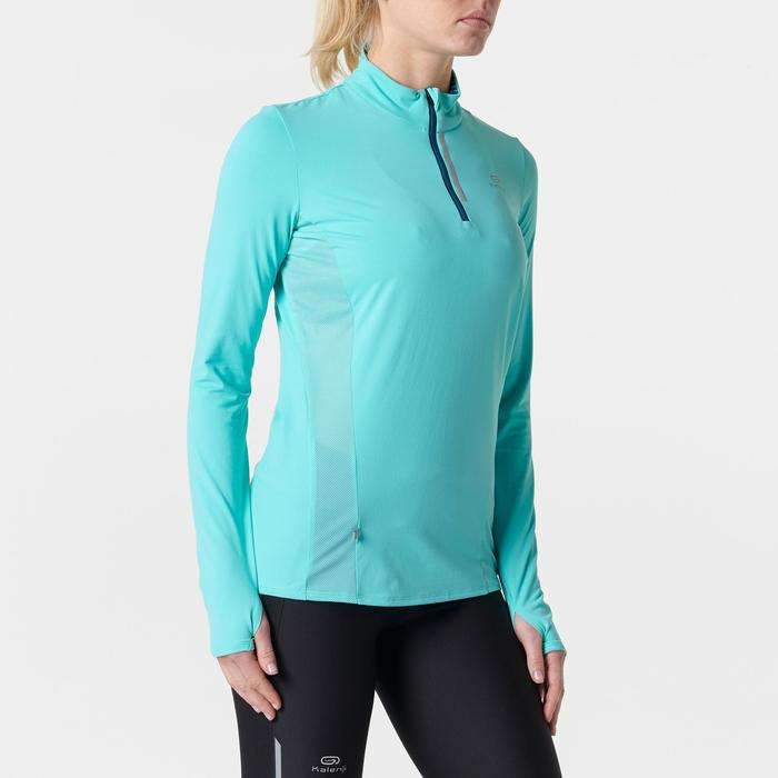MAILLOT MANCHES LONGUES JOGGING FEMME RUN DRY+ ZIP VERT CLAIR