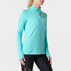 Shirt lange mouwen jogging dames Run Warm groen