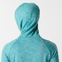 Laufshirt langarm Run Warm Hood Damen türkis