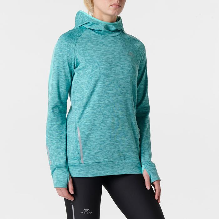 Run Warm Women's Running Long-Sleeved Jersey Hood - Mottled Grey  - 1351973