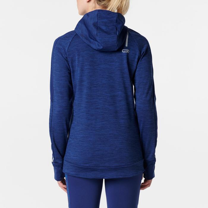 女款慢跑長袖連帽T恤RUN WARM海軍藍