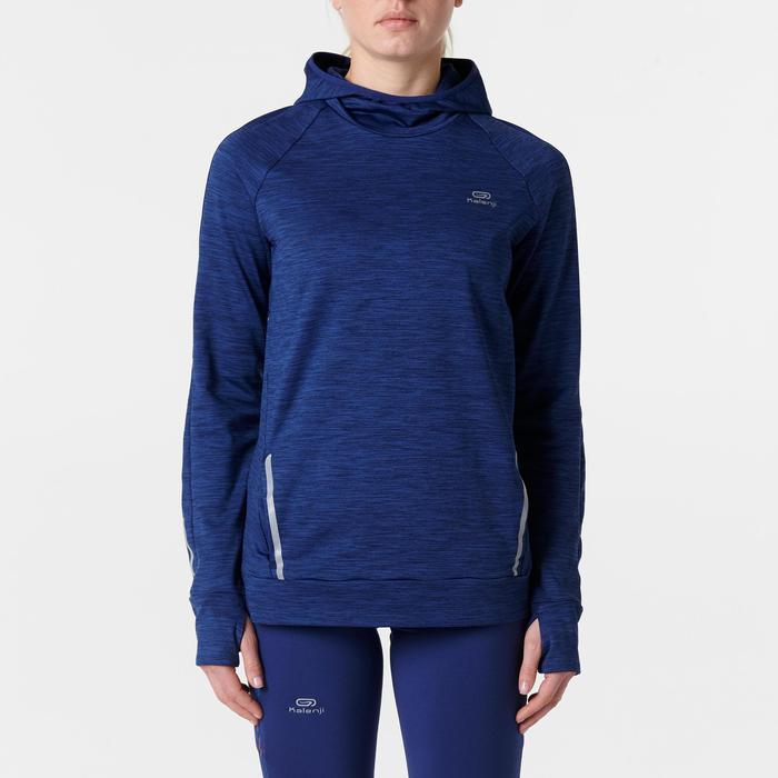 Lauf-Langarmshirt Run Warm Hood Damen marineblau