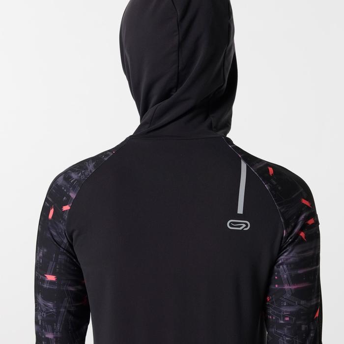 Laufjacke Warm Hood Run Damen schwarz/koralle
