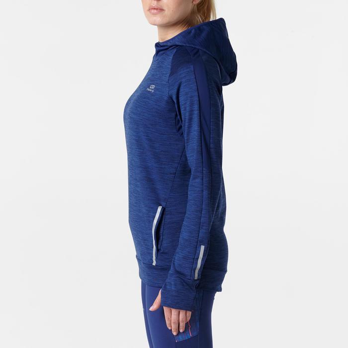 RUN WARM WOMEN'S LONG-SLEEVED JOGGING JERSEY HOOD NAVY BLUE